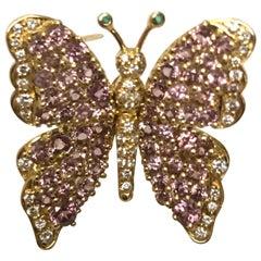 Jean Vitau 18 Karat Pink Garnet & Diamond Butterfly Brooch with Emerald Antennae