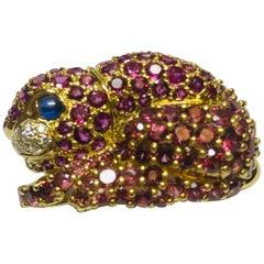 Jean Vitau 18K Pink Garnet, Ruby, Diamond & Blue Sapphire Rabbit Brooch/ Pendant