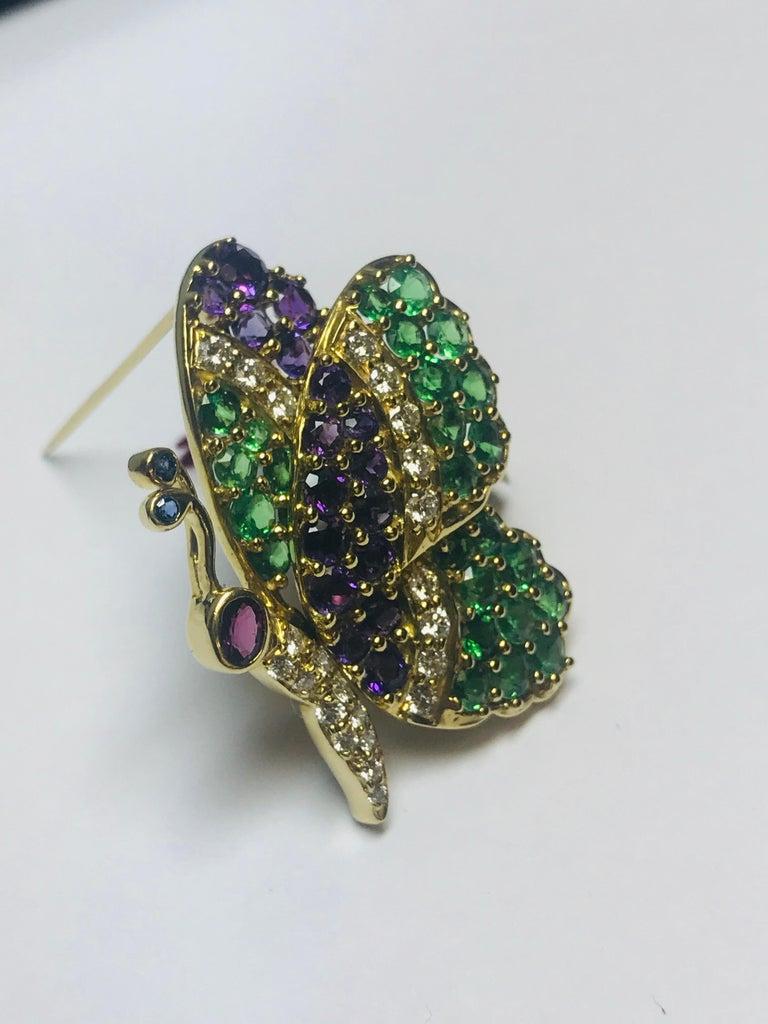 Modern Jean Vitau 18 Karat Tsavorite Garnet, Amethyst and Diamond Butterfly Brooch For Sale