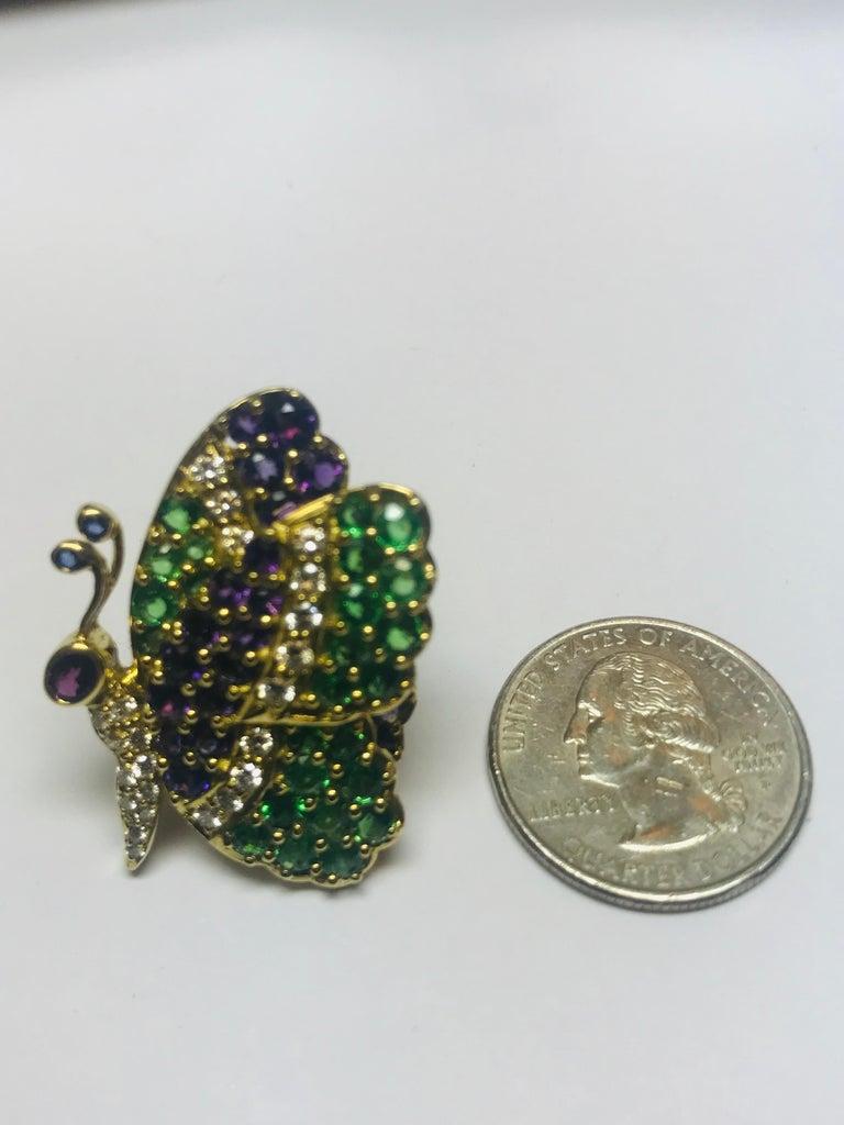 Women's or Men's Jean Vitau 18 Karat Tsavorite Garnet, Amethyst and Diamond Butterfly Brooch For Sale