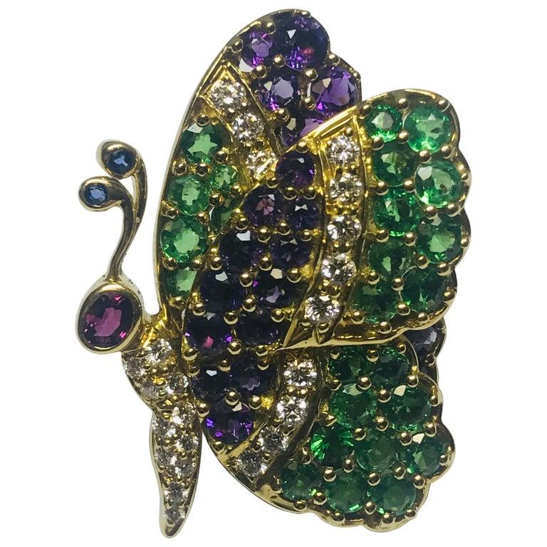 Jean Vitau 18 Karat Tsavorite Garnet, Amethyst and Diamond Butterfly Brooch For Sale
