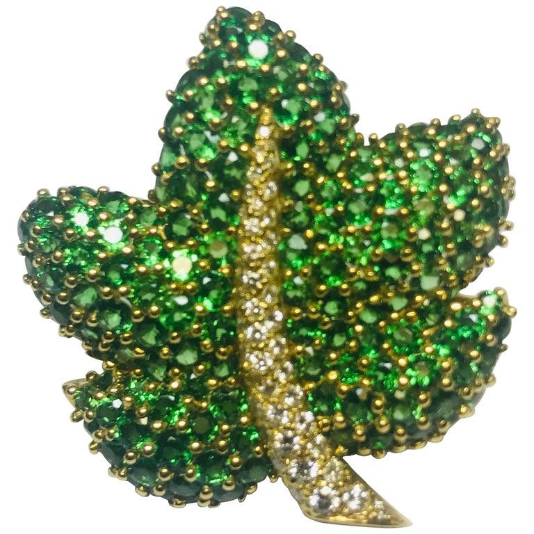 Jean Vitau 18 Karat Tsavorite Garnet and Diamond Maple Leaf Brooch For Sale