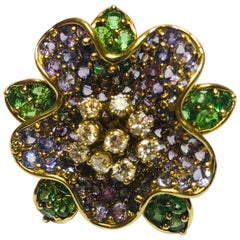 Jean Vitau 18 Karat Tsavorite, Purple Sapphire and Diamond Rhododendron Brooch