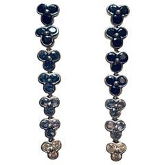 Jean Vitau 18 Karat White Gold Sapphire and Diamond Wisteria Earrings