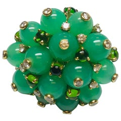 Jean Vitau 18 Karat Yellow Gold Chrysoprase, Green Tourmaline and Diamond Brooch