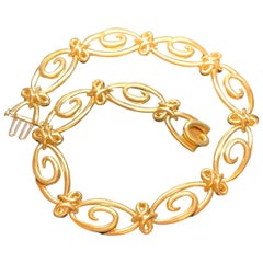 Jean Vitau 18 Karat Yellow Gold Infinity Link Necklace