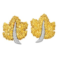 Jean Vitau 18K Yellow Gold & Platinum Yellow Sapphire and Diamond Leaf Earrings