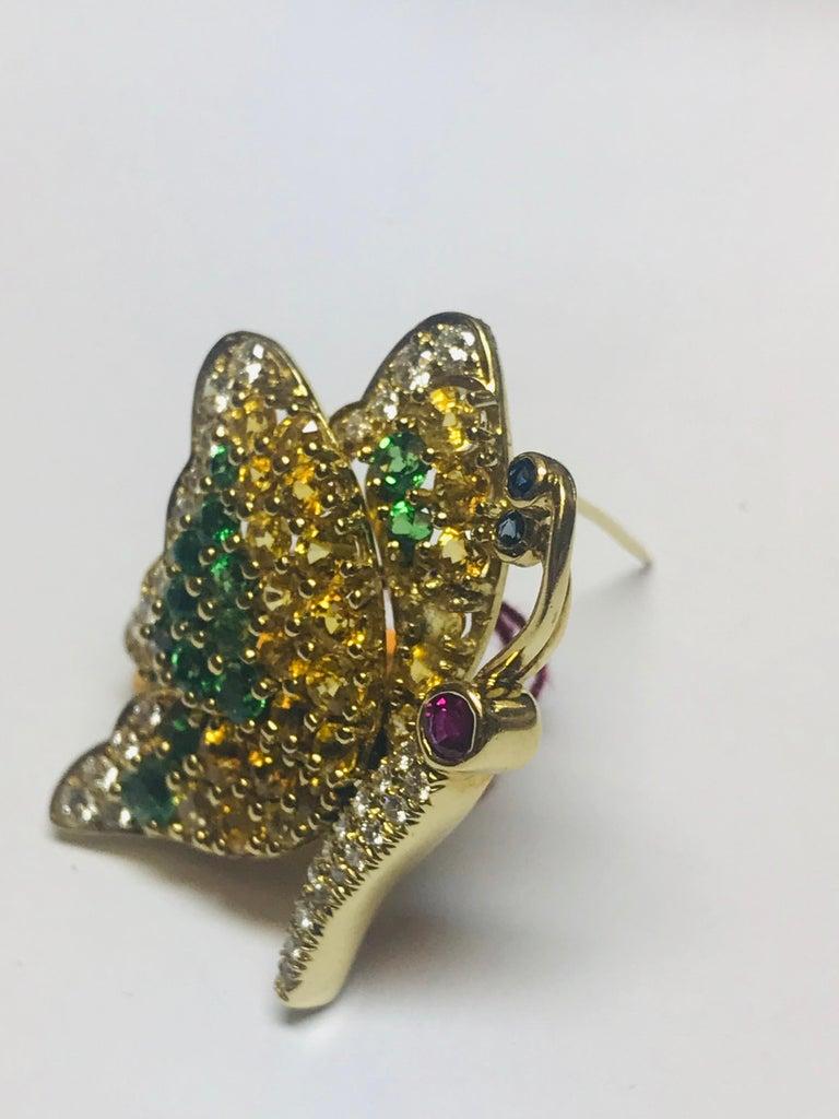 Women's or Men's Jean Vitau 18 Karat Yellow Sapphire, Tsavorite Garnet & Diamond Butterfly Brooch For Sale