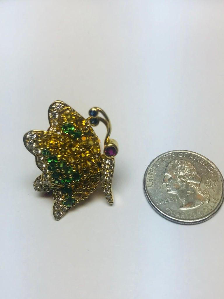 Jean Vitau 18 Karat Yellow Sapphire, Tsavorite Garnet & Diamond Butterfly Brooch For Sale 1