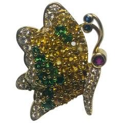 Jean Vitau 18 Karat Yellow Sapphire, Tsavorite Garnet & Diamond Butterfly Brooch