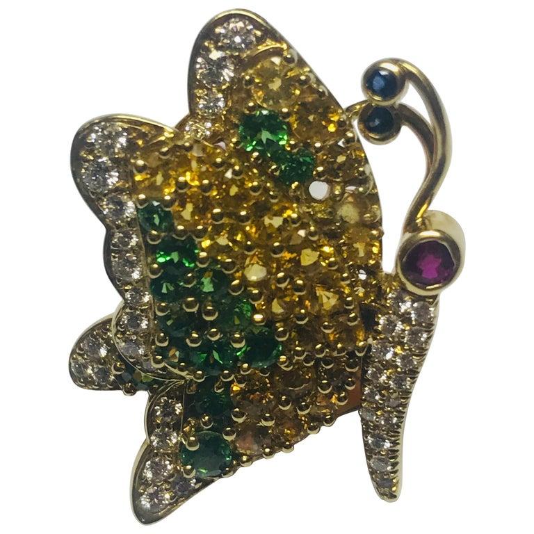 Jean Vitau 18 Karat Yellow Sapphire, Tsavorite Garnet & Diamond Butterfly Brooch For Sale