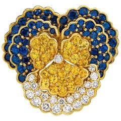 Jean Vitau 18KT Yellow Gold, 14.50 Carat Sapphire and Diamond Large Pansy Brooch
