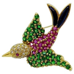 Jean Vitau 18KT Yellow Gold Bird Brooch with .19 Carat Diamonds and Gemstones