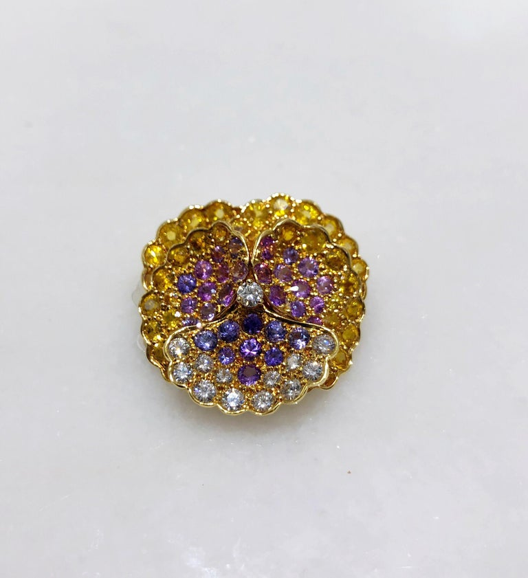 Contemporary Jean Vitau 18 Karat Yellow Gold, Diamond and Colored Sapphires Pansy Brooch For Sale