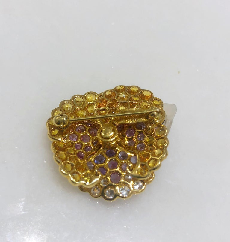 Jean Vitau 18 Karat Yellow Gold, Diamond and Colored Sapphires Pansy Brooch In New Condition For Sale In New York, NY