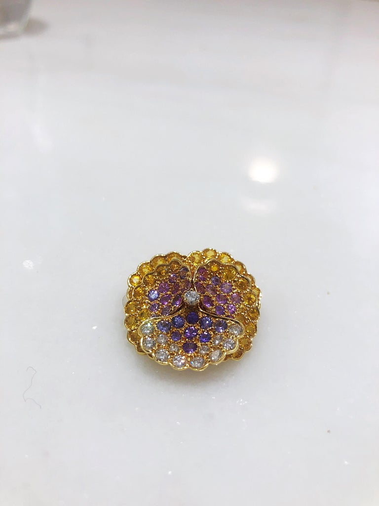 Women's Jean Vitau 18 Karat Yellow Gold, Diamond and Colored Sapphires Pansy Brooch For Sale