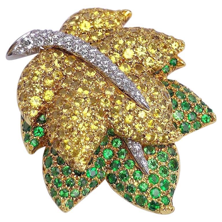 Jean Vitau 18KT Yellow Gold Leaf Brooch, Diamonds, Yellow Sapphire & Tsavorite