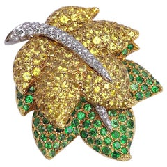 Jean Vitau 18KT Yellow Gold Leaf Brooch, Diamonds, Yellow Sapphire & Tsavorite