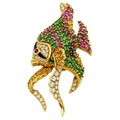 Jean Vitau 18 Karat Yellow Gold, Multi-Gem and Diamond Angel Fish Brooch