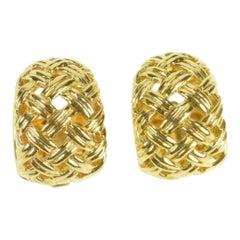 Jean Vitau Basket Weave Designer Huggies Gold Hoop Clip-On Earrings