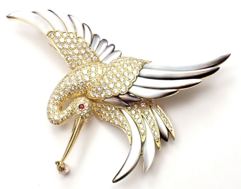 Jean Vitau Diamond Mother of Pearl Large Stork Yellow Gold Brooch For Sale 2