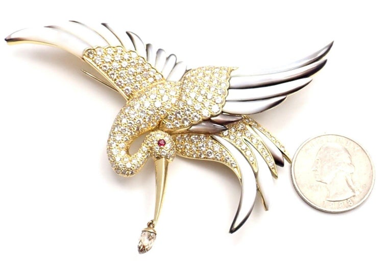 Jean Vitau Diamond Mother of Pearl Large Stork Yellow Gold Brooch For Sale 4