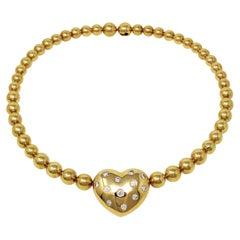 Jean Vitau Graduated Ball Choker Necklace with Fixed Diamond Heart Yellow Gold