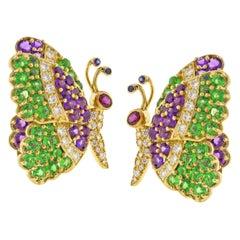 Jean Vitau Multi Gem Butterfly Earrings