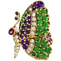 Jean Vitau Multi Gem Butterfly Pin
