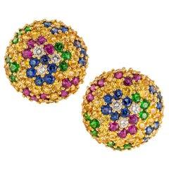 Jean Vitau Multicolored Gemstone Diamond Yellow Gold Clip-On Earrings