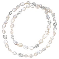Jean Vitau Opera Length Baroque Pearl Neck with 18 Karat White Gold Motifs