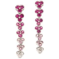 Jean Vitau Pink Sapphire Diamond 18 Karat White Gold Wisteria Earrings