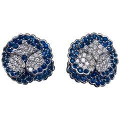 Jean Vitau Platinum Blue Sapphire and Diamond Pansy Earrings