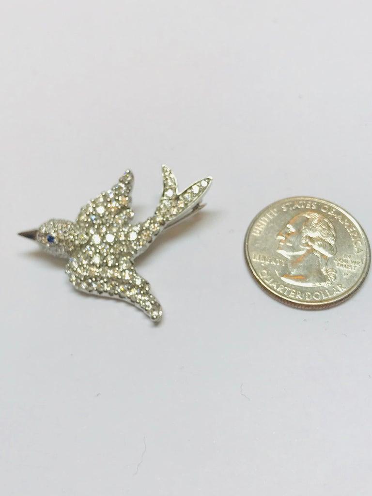 Women's or Men's Jean Vitau Platinum Diamond Dove Bird Brooch with Blue Sapphire Eye For Sale