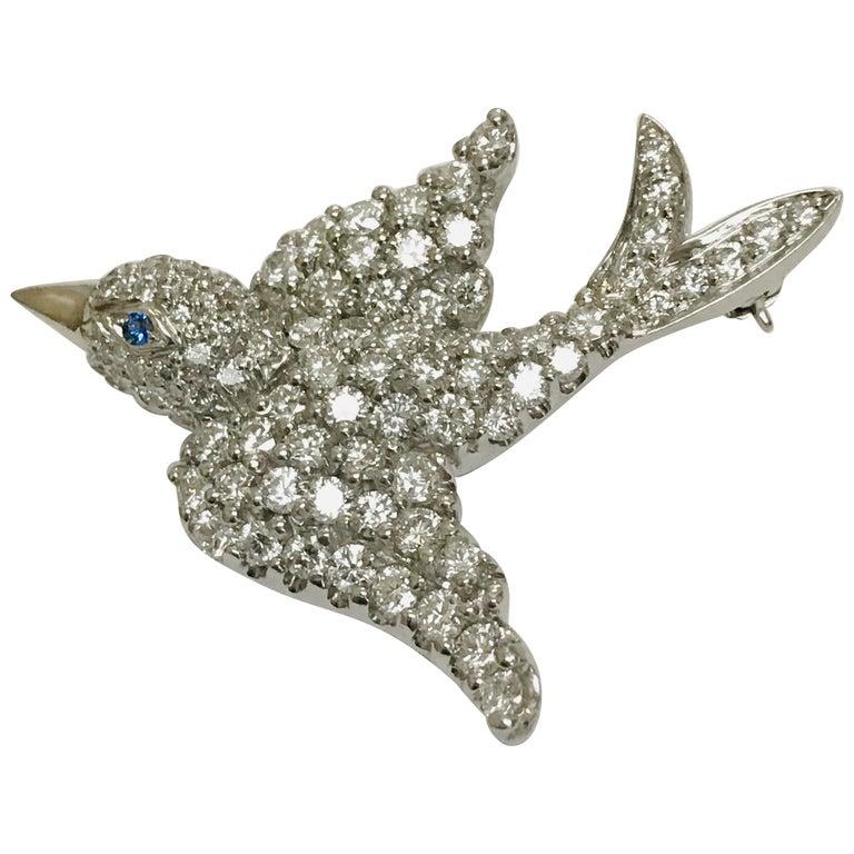 Jean Vitau Platinum Diamond Dove Bird Brooch with Blue Sapphire Eye For Sale