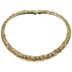 Jean Vitau Yellow Gold Flexible Collar Necklace