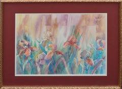 Bearded Irises - Floral Garden Watercolor Still-Life