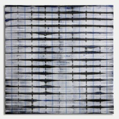 Blue Fold White and Blue Lines - Original Painting - Acrylic and Colored Pencil