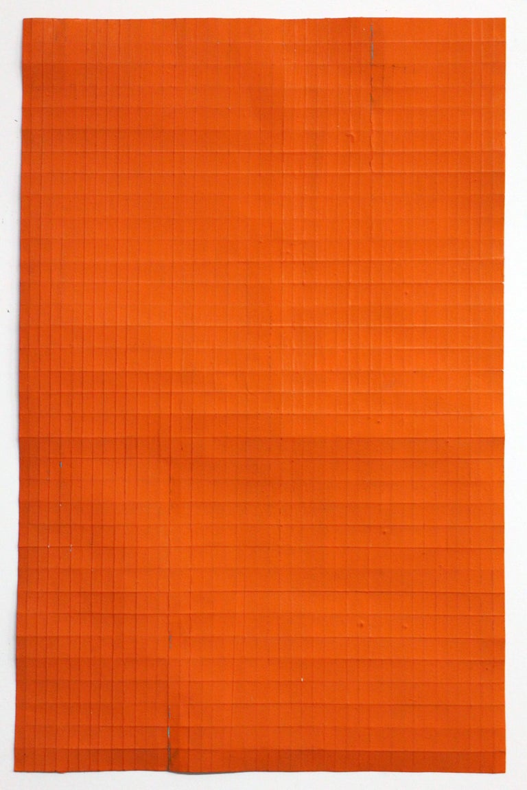Jean Wolff Abstract Painting - Orange Fold - Original Abstract Minimal Painting - Acrylic on Paper
