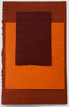 Orange Layered - Original Abstract Painting - Acrylic, Crayon on Folded Paper