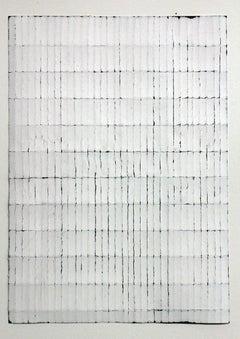 White Black Fold - Original Abstract Minimal Painting - Acrylic on Folded Paper
