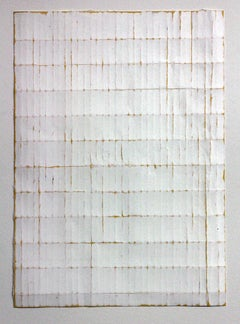 White Naples Fold -Original Abstract Minimal Painting - Acrylic on Folded Paper