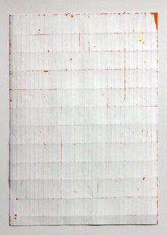 White Orange Fold -Original Abstract Minimal Painting - Acrylic on Folded Paper