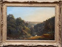 Tivoli Landscape - French 19th century art Italian landscape oil painting goats