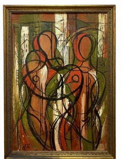 Greek Ameircan Jean Xceron Figurative Cubism Abstract Oil Painting