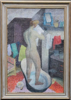 Tin Bath - British 40's art Post-Impressionist interior oil nude self portrait