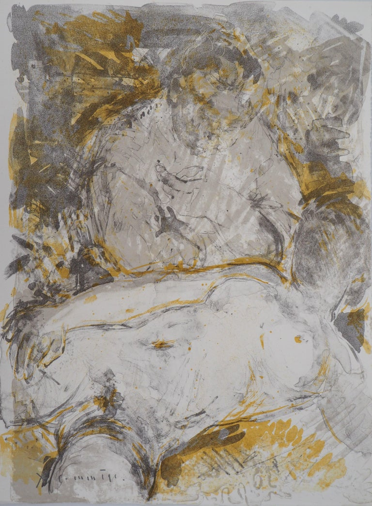 Jean Yves Commère Figurative Print - Nude in the Barn - Original handsigned lithograph