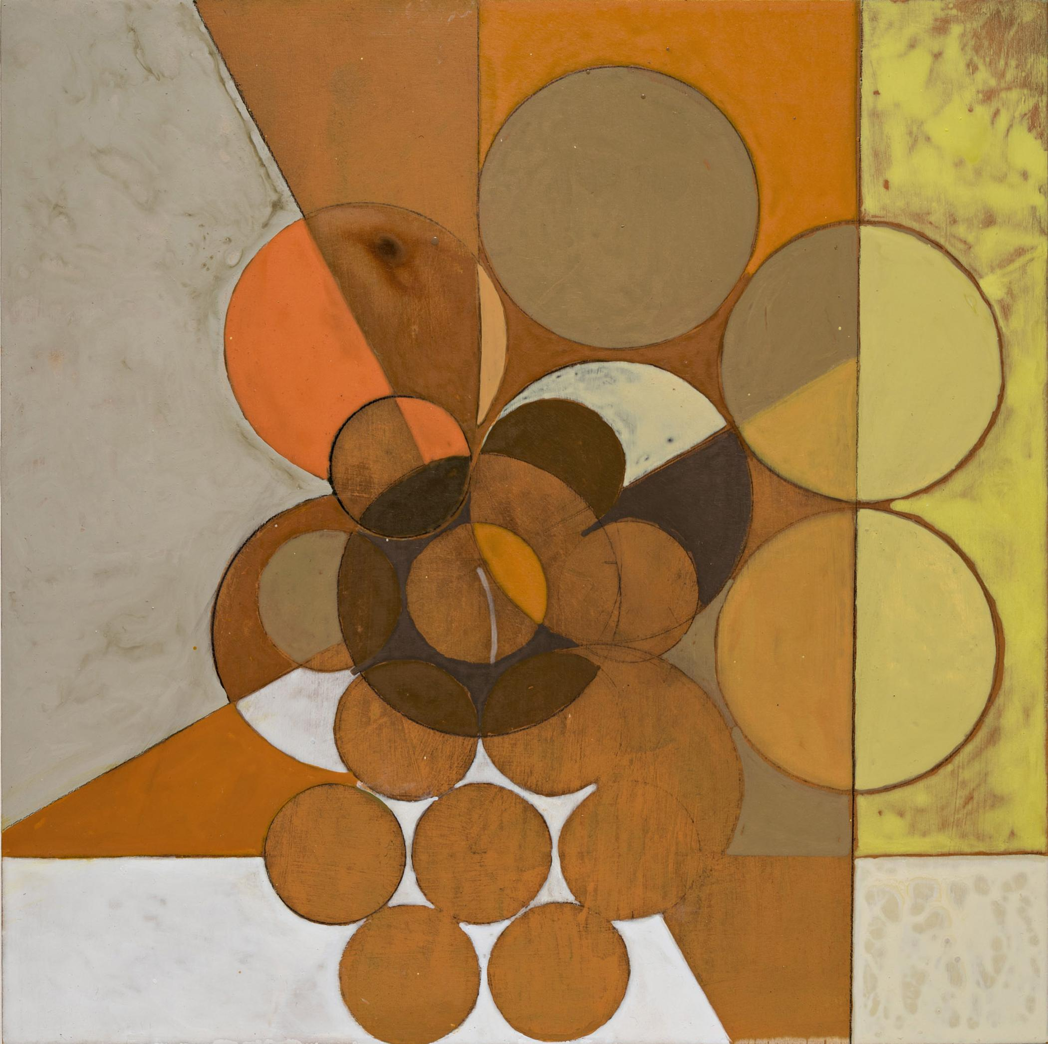 All Realities (Abstract Geometric Painting in Orange, Sienna, Yellow on Panel)
