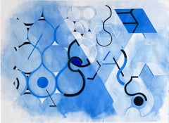Blue Mother Drawing #3 (Geometric Abstract Watercolor Painting in Blue & Black)