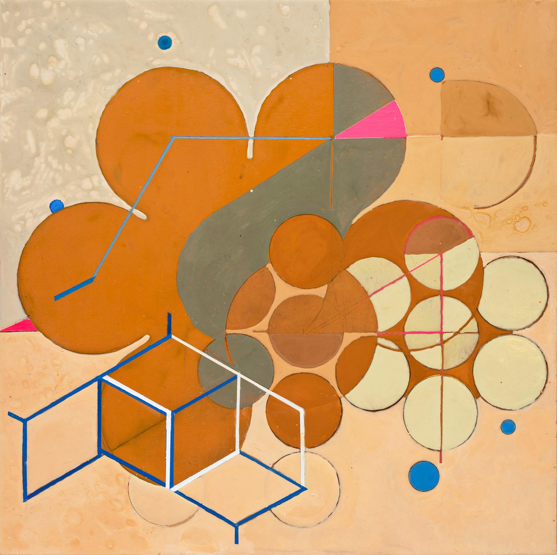 Goddess of the Expansion (Abstract Geometric Painting in Orange, Pink, Neutral)